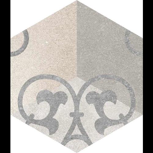 Carrelage hexagonal tomette vieillie décor arabesque 23x26.6cm KUNASHIR -   - Echantillon Vives Azulejos y Gres