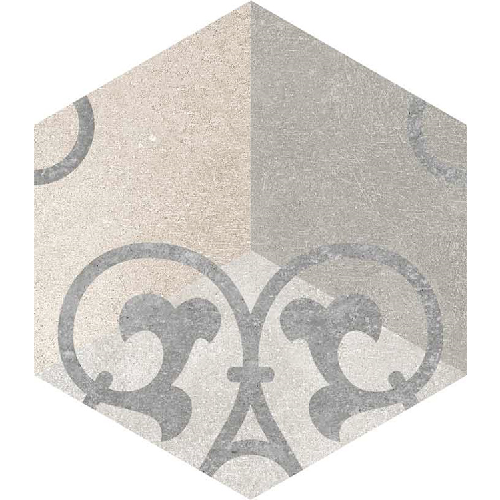 Carrelage hexagonal tomette vieillie décor arabesque 23x26.6cm KUNASHIR -   - Echantillon - zoom
