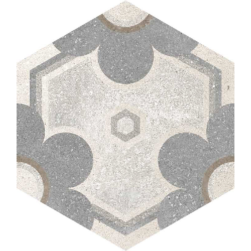 Carrelage hexagonal tomette vieillie décor fleur 23x26.6cm YEREVAN -   - Echantillon - zoom