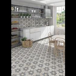 Carrelage hexagonal tomette vieillie décor fleur 23x26.6cm YEREVAN -   - Echantillon Vives Azulejos y Gres