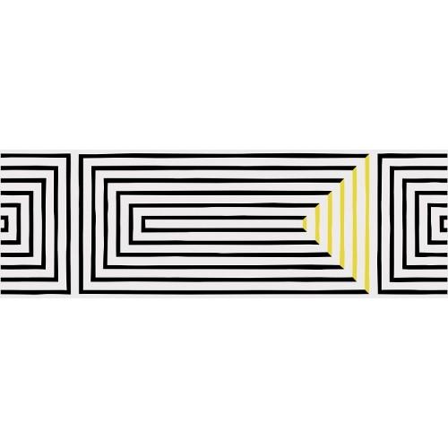 Carrelage graphique Art Déco 25x75 cm SASAK-7 BLACK -  - Echantillon - zoom