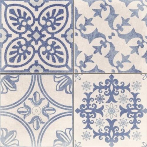 Carrelage style ciment blanc et bleu SKYROS DECO BLANCO 44x44 cm -   - Echantillon - zoom
