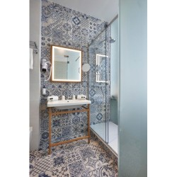 Carrelage style ciment blanc et bleu SKYROS DECO BLANCO 44x44 cm -   - Echantillon Realonda