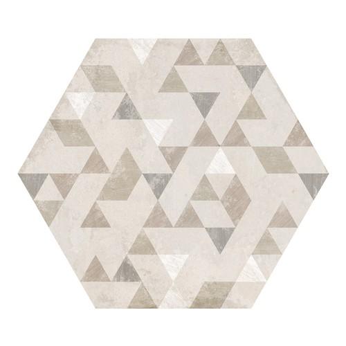 Carrelage hexagonal décor beige 29.2x25.4cm URBAN FOREST NATURAL 23618 -   - Echantillon - zoom