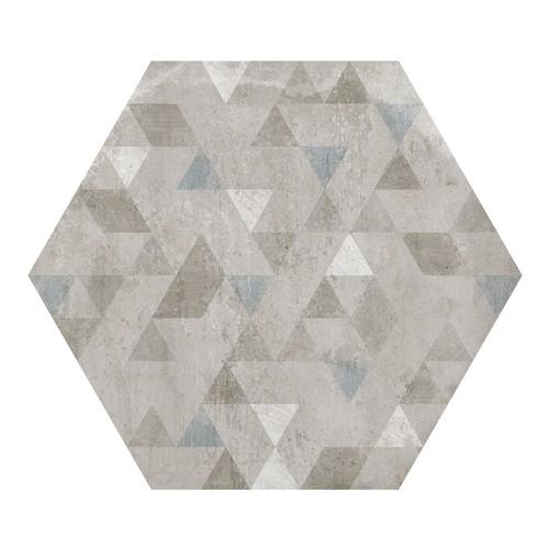Carrelage hexagonal décor gris 29.2x25.4cm URBAN FOREST SILVER 23615 -   - Echantillon - zoom