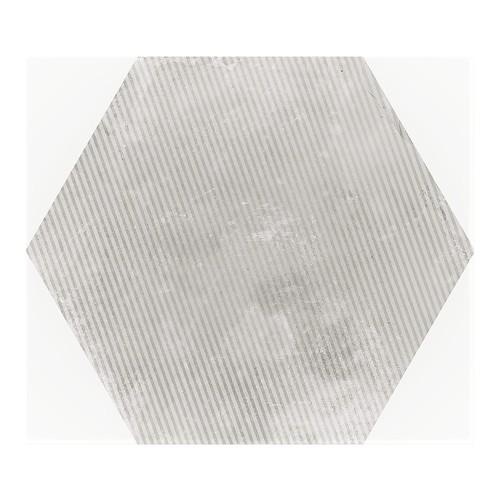 Carrelage hexagonal décor gris 29.2x25.4cm URBAN HEXAGON MÉLANGE SILVER 23603 -   - Echantillon - zoom