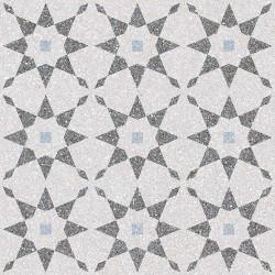 Carrelage à décors étoiles gris bleu rectifié AVENTINO-R Humo 29x29 -   - Echantillon Vives Azulejos y Gres