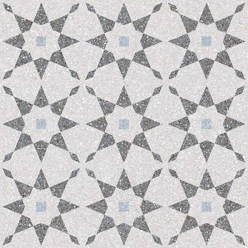 Carrelage à décors étoiles gris bleu rectifié AVENTINO-R Humo 29x29 -   - Echantillon - zoom