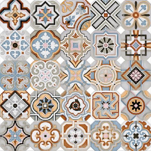 Carrelage octogonal décoré 20x20 mat et cabochons MUSICHALLS -   - Echantillon - zoom