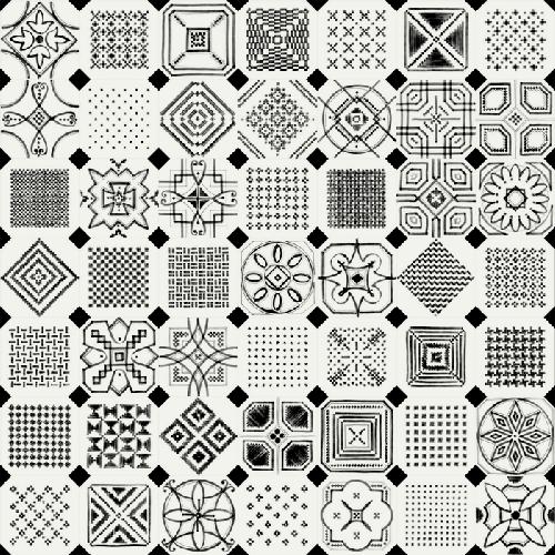 Carrelage octogonal décoré 20x20 mat et cabochons VARIETTE -   - Echantillon - zoom