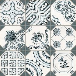 Carrelage imitation cabochons décoré 31x31 cm RETIRO -   - Echantillon Vives Azulejos y Gres