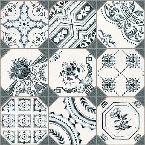 Carrelage imitation cabochons décoré 31x31 cm RETIRO -   - Echantillon - zoom