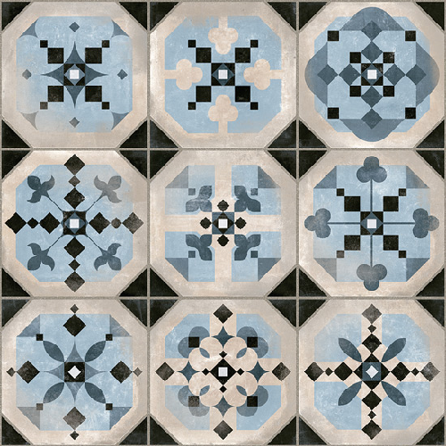Carrelage imitation cabochons décoré bleu 31x31 cm STANLEY -   - Echantillon - zoom