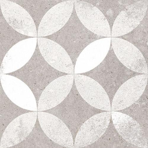 Carrelage style ancien Quatre-feuilles 20x20 cm KERALA Gris -   - Echantillon - zoom