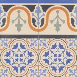 Carrelage style ancien ESCOCIA DECO CENEFA bordure 44x44 cm -   - Echantillon Realonda