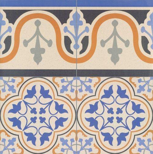 Carrelage style ancien ESCOCIA DECO CENEFA bordure 44x44 cm -   - Echantillon - zoom