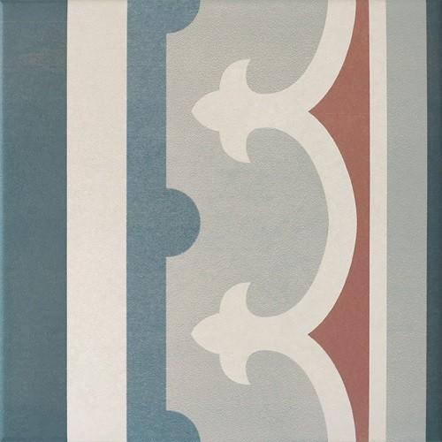 Carrelage imitation ciment rosace 20x20 cm CAPRICE SAINT TROPEZ Bordure 20942 -   - Echantillon Equipe