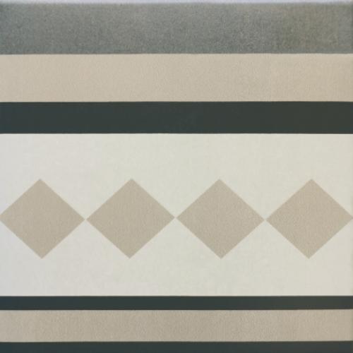 Carrelage imitation ciment cube gris blanc 20x20 cm CAPRICE PROVENCE BORDURE -   - Echantillon - zoom