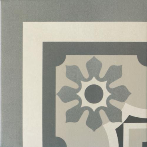 Carrelage imitation ciment rosace 20x20 cm CAPRICE CHATELET Angle - unité - Echantillon - zoom