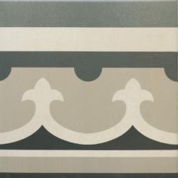 Carrelage imitation ciment rosace 20x20 cm CAPRICE CHATELET Bordure-   - Echantillon Equipe