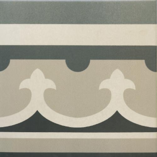 Carrelage imitation ciment rosace 20x20 cm CAPRICE CHATELET Bordure-   - Echantillon - zoom