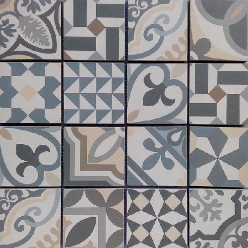 Malla Antan Grey - Mosaique grès cérame 32 - Echantillon - zoom