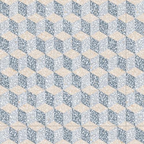 Carrelage imitation ciment 30x30 cm Cavour Azul anti-dérapant R10 -   - Echantillon - zoom