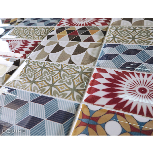 Carrelage METRO décor ciment PATCHWORK Colours 7.5x15 cm 20922 - 0.  - Echantillon - zoom