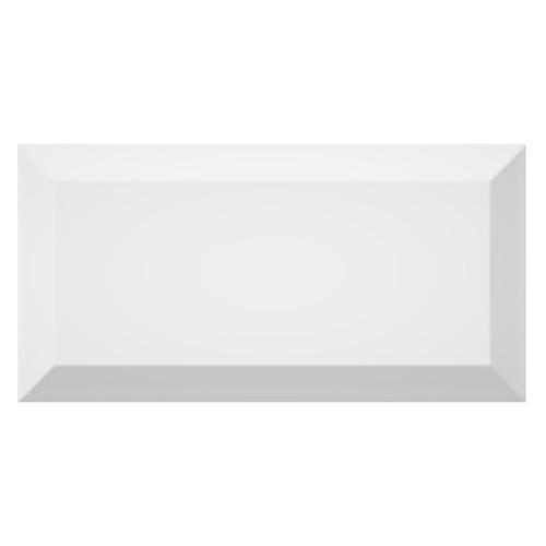 Carrelage métro biseauté brillant blanc 10x20cm MUGAT BLANCO -   - Echantillon Vives Azulejos y Gres
