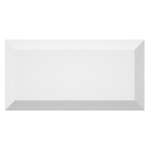 Carrelage métro biseauté brillant blanc 10x20cm MUGAT BLANCO -   - Echantillon - zoom