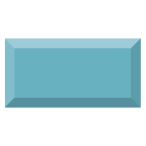 Carrelage métro biseauté brillant bleu ciel 10x20cm MUGAT CELESTE -   - Echantillon - zoom