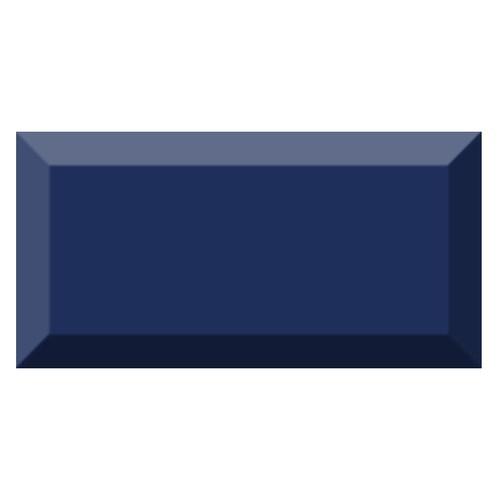 Carrelage métro biseauté brillant bleu marine 10x20cm MUGAT MARINO -   - Echantillon Vives Azulejos y Gres