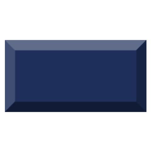 Carrelage métro biseauté brillant bleu marine 10x20cm MUGAT MARINO -   - Echantillon - zoom