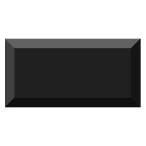 Carrelage métro biseauté brillant noir 10x20cm MUGAT NEGRO -   - Echantillon - zoom
