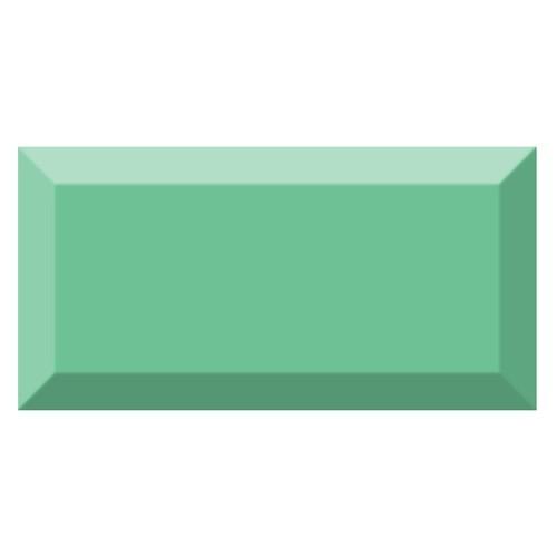 Carrelage métro biseauté brillant vert olive 10x20cm MUGAT OLIVA -   - Echantillon Vives Azulejos y Gres