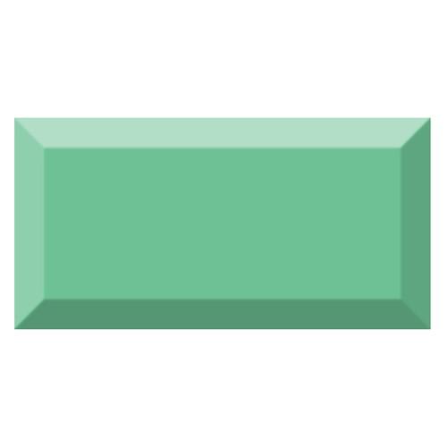 Carrelage métro biseauté brillant vert olive 10x20cm MUGAT OLIVA -   - Echantillon - zoom