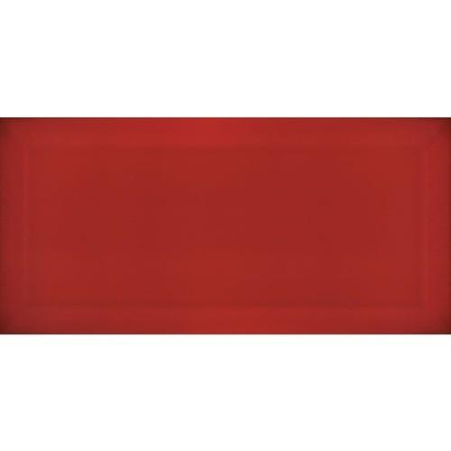 Carrelage Métro biseauté Rojo rouge brillant 10x20 cm -   - Echantillon Ribesalbes