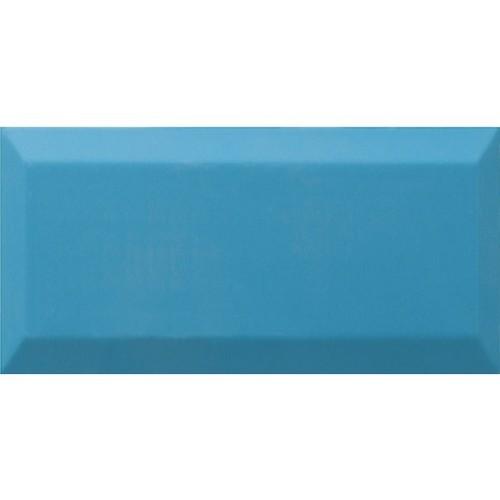 Carrelage Métro biseauté Teal bleu céruléen brillant 10x20 cm -   - Echantillon Ribesalbes