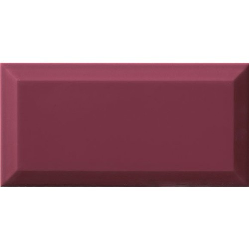 Carrelage Métro biseauté Malva amarante brillant 10x20 cm -   - Echantillon Ribesalbes