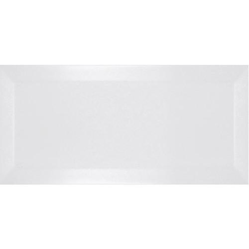 Carrelage métro biseauté blanco mate blanc 10x20 cm -   - Echantillon Ribesalbes