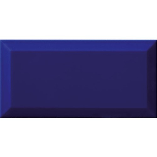 Carrelage Métro biseauté bleu foncé AZUL brillant 10x20 cm -   - Echantillon Ribesalbes