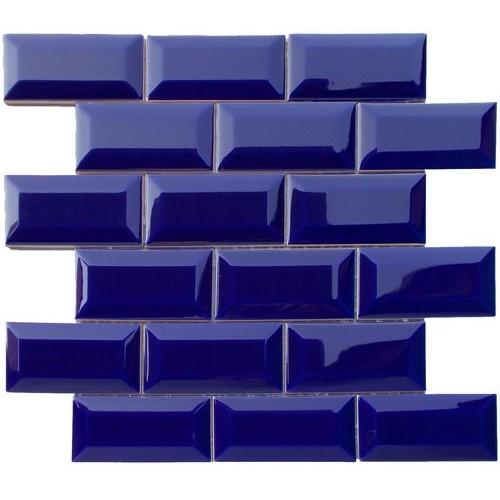 Mini carreau METRO AZUL BLEU FONCÉ 5x10 cm sur trame - unité - Echantillon Decora