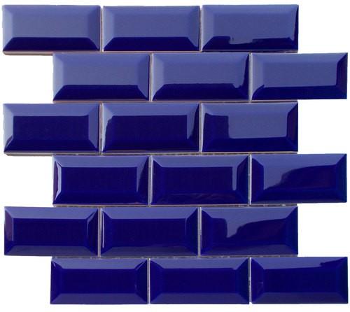 Mini carreau METRO AZUL BLEU FONCÉ 5x10 cm sur trame - unité - Echantillon - zoom