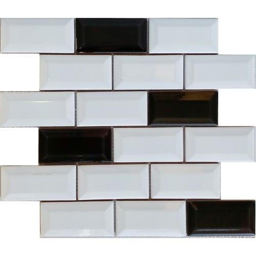 Mini carreau METRO MIX NOIR ET BLANC 5x10 cm sur trame - unité - Echantillon Decora