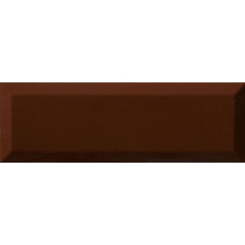 Carrelage Métro biseauté 10x30 cm cacao marron brillant -    - Echantillon Ribesalbes