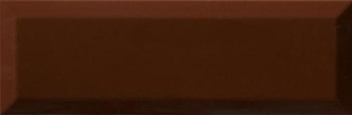 Carrelage Métro biseauté 10x30 cm cacao marron brillant -    - Echantillon - zoom