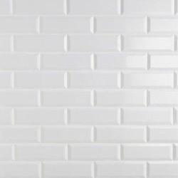 Carrelage Métro biseauté 10x30 cm blanc brillant -    - Echantillon Ribesalbes