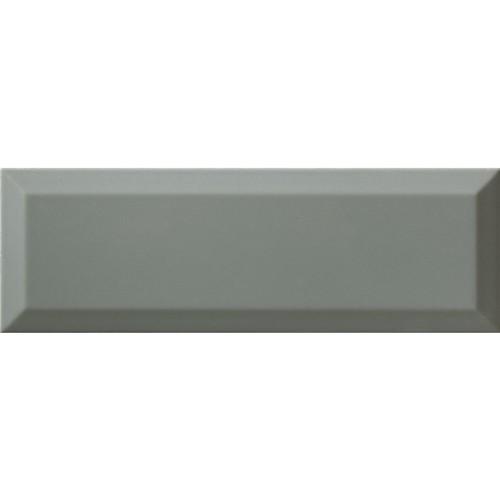 Carrelage métro gris vert cendré biseauté 10x30 cm Sage Brillant -    - Echantillon - zoom