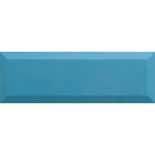 Carrelage Métro biseauté 10x30 cm teal bleu turquoise brillant -    - Echantillon Ribesalbes