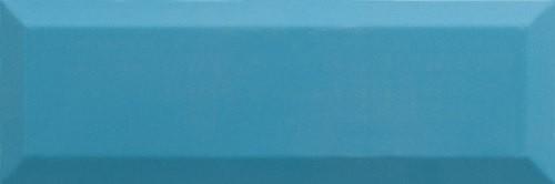 Carrelage Métro biseauté 10x30 cm teal bleu turquoise brillant -    - Echantillon - zoom